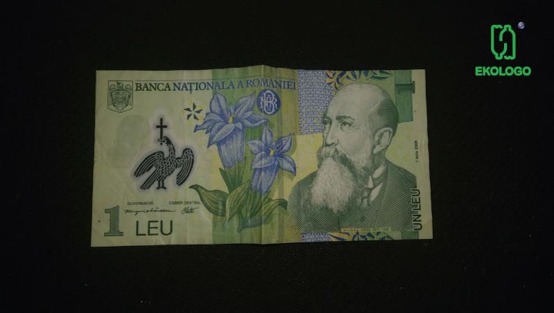 Rumuński Lej wykonany z plastiku - ekologo -plastikowe banknoty