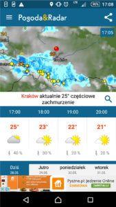 Pogoda dla gmin z aplikacji Pogoda&Radar
